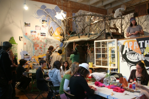 the teahouse treehouse in action at City Repair's Reware